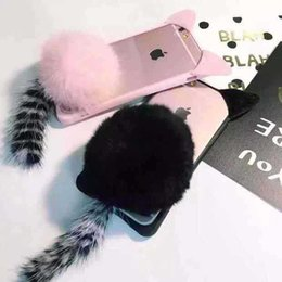 Wholesale Cute Cat Ear Iphone Case - Cute Pussy Cat Ear Tail Fur Case For iPhone X 8 7 Plus Case Back Cover Iphone 8 TPU Clear Case DHL Free
