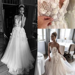 Wholesale Flower Details - Illusion Jewel Sweetheart floral Ruched Bodice Wedding Dresses 2018 Elihav Sasson 3D Rose Flower Floor Length holiday Wedding Gowns