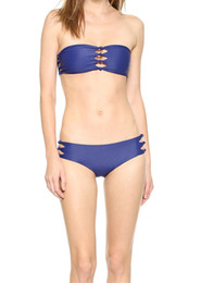 Wholesale New Style Brand Bikini - Women Causal Beach Wear Reversible Style Strapless Knot Hollow Blue Black Strips Sexy Bathing Suits Thong The New Brand 15045