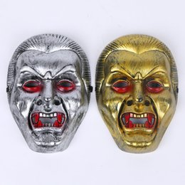 Wholesale Masquerade Terror - Halloween Masquerade Terror Mask Gold Silver PVC Vampire Zombie Performance Mask Bar Party Dance Cosplay Costume Decoration 12pcs lot SD392