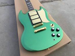Guitarras eléctricas sg online-Custom Shop Green SG 3 Pastillas Guitarra Eléctrica Guitarra Guitarra de la nueva llegada Venta al por mayor envío gratis