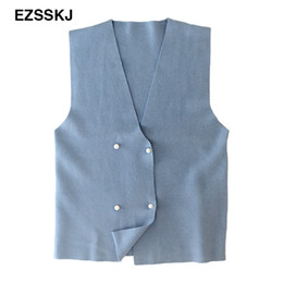 Wholesale Duck Knitting - 2017 Spring Autumn Wool Sweater Vest Women Sleeveless V-Neck Knitted Vest Female femme Pearl buttons sweet double breasred tops