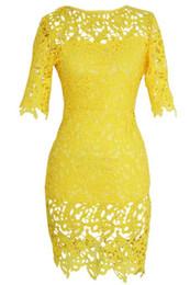 Robe jaune en dentelle midi en Ligne-Vintage Floral Boho Femme Midi Soirée Crayon Robe De Taille Plus Taille Brésil