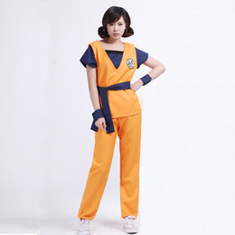 Wholesale Dragon Ball Z Costumes - Dragonball Dragon Ball Z Adult Son Goku Master Roshi Logo Shirts Pants Jacket Cosplay Costume Halloween Kongfu Suit Outfit