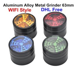 Wholesale Wholesale Smoking Spice - New Aluminum Alloy Metal Grinder 63mm 4 Layer Parts WIFI Style Top Transparent Herb Smoking Tobacco Grinder Spice Crusher Mullers DHL
