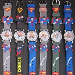 Wholesale superman quartz watches - Fashion Cartoon Superman 3D Quartz Wristwatches Kids Silicone China Jewelry Watch For Children Christmas Birthday Gift Free Shipping