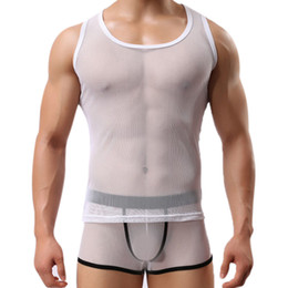 Wholesale Tight Tank Top Undershirt - Wholesale- Korean Style Men's Gauze Square Neck Tight Vest Elastic Transparent Tank Tops Undershirts for Vest Tank