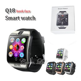 Wholesale Wrist Watch Dials - Q18 smart watches for android phones Bluetooth Smartwatch with Camera Support Health Smart watches Tf sim Card Slot Bluetooth with package