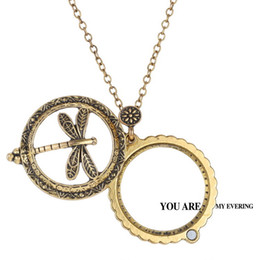 Wholesale Glass Dragonfly Pendant - NEW hollow Necklace Reading Glass alloy dragonfly Pendant Necklaces With 5 times Magnifying Glass Hollow necklaces pendant with gift box