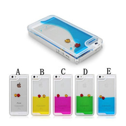 """Wholesale Quicksand 4s - CellPhone Case for iPhone 4 4S 4G 5 5S 6 4.7"""" Plus 5.5'' Liquid Free Swimming Fish Dynamic Ocean Sea World Quicksand Transparent Back Cover"""