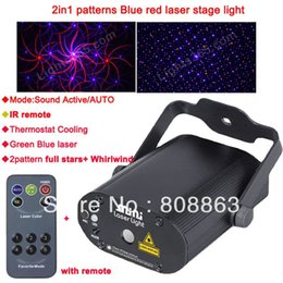 Wholesale Laser Projector Dance - new 2 Pattern Whirlwind BLUE 200mw projector Remote Red Laser Stage lighting dsico Dance Party Light Show system DJ business d49
