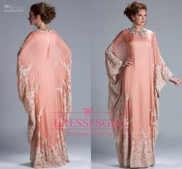 Wholesale Dark Peach Prom Dress - Arabic Dubai kaftan 2016 Mother Of Bride Groom Dress Prom Dress Peach Coral Chiffon Lace Long Sleeves Lace Muslim Evening Gowns JQ3309
