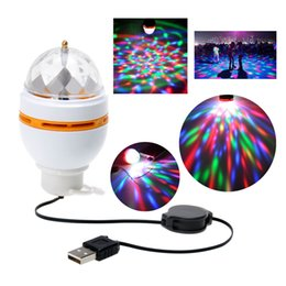 Wholesale Disco Light Usb - Full Color 3W RGB LED Portable Disco DJ Party Crystal Stage Lights Bulb lamp Auto Rotating led Bulb Lamp with USB Interface DJ Club effect