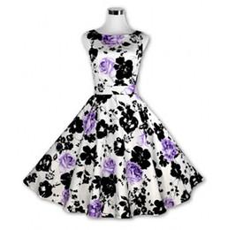 Wholesale Pinup Rockabilly Dress - 50s Vintage Dresses Audrey Hepburn 2016 Women Summer Style Vestido Floral Print 60s Pinup Retro Vintage Rockabilly 50s Dress