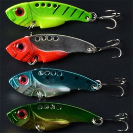 Wholesale Vib Hard Bait - 2016 Fishing Lure Blade Metal VIB Hard Bait Bass Walleye Crappie 10g 5.5cm Fishing Tackle With 8# Hools