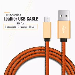 Wholesale Newest Smart Phones - 2017 Newest Leather USB Cable Luxury Micro USB Cable Type C Cable for Smart Phone Fast Charge Sync Data for Samsung LG Huawei