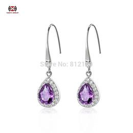 Wholesale Lace Earrings - Wholesale-Free Shipping 925 Sterling Silver Natural Amethyst Drop Earrings lace Fine Jewelry GirlFriend Gift 2015 drop earrings