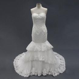 Wholesale Silk Organza Sweetheart Neck Wedding - Mermaid Wedding Dresses Luxurious Bride Gowns 2016 Vestidos De Novia Embroidery Pearls Tiered with Belt Custom Made
