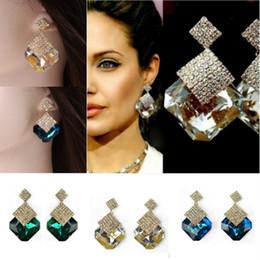 Wholesale Types Ear Studs - Stud Earrings Hook Lady Crystal Fashion Dangle Ear Stud Rhombus Earrings Party Jewelry Chandelier Earring eardrop Earing Classic Types