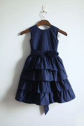 Wholesale Wedding Cupcakes Pictures - 2017 Real Communion Dress Vestido De Daminha Navy Cotton Flower Girl Infant Toddler Pageant Bridal Party Cupcake With Sash