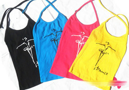 Wholesale Dance Tank Tops - Latin Dance Print Lace-up Neck Cotton Sleeveless Dancers Children Clothing Tank Tops T-shirts Kids Clothes Vest Sun Top Tees D5023