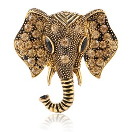 Wholesale Gold Rhinestone Brooches - Wholesale Fashion Big Elephant Gold Plated Brooch Crystal Rhinestone Animal Badge Factory Outlet Vintage Jewelry Gold Silver Two colors
