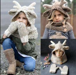 Wholesale Wholesale Winter Hats Gloves Scarfs - Baby Winter Christmas Elk Hat Scarf 2 in 1 +Gloves Kids Cartoon Deer Knitted Warmer Gloves Elk Hooded Scarf Hat KKA3492