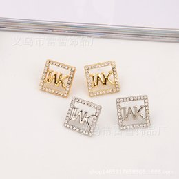 Wholesale Large Studs Earrings - European and American large luxury Earrings square with drilled alphabetic ornaments and high grade polishing earring ornaments