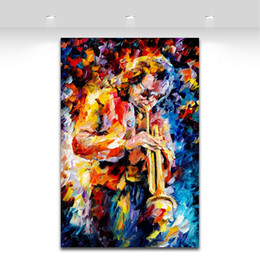 Wholesale Music Art Decor - Palette Knife Painting Jazz Music Trumpet Saxophone Guita Soul Play Picture Printed On Canvas For Home Office Wall Decor Art