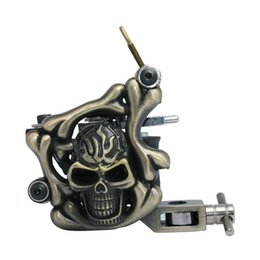 Wholesale Steel Tattoo Machine Liner - Skull Tattoo Machine Iron Tattoo Machine 10 Wraps coil stainless steel Tattoos Body Art Gun Makeup Tool 1101303-1