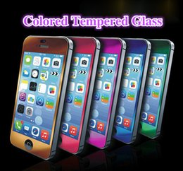 Wholesale Colored Iphone 5s Screen - 2.5D Colored Tempered Glass Premium Screen Protector 0.2MM 9H Colorful Explosion Proof For Iphone 5 5S Front and Back Phone Accessories
