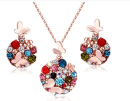 Wholesale China Wholesaler For Halloween Costumes - Newest 18K Gold Silver Plated Crystal African Fashion Costume Jewelry Sets for Women Butterfly Necklace Earrings Sets XY
