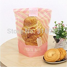 Wholesale Self Adhesive Bags 27cm - E1 Cookie packaging 18*27cm plastic bags pink tag printed self-adhesive bags for biscuits snack baking package 95pcs lot