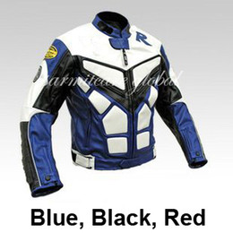 Wholesale Race Leather Jacket - Wholesale-Men PU Leather Motorcycle Jacket Windproof Auto Leather Racing Jacket Moto Blue Black Red S M L XL XXL XXXL for Sale