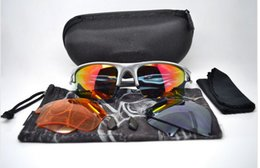 Wholesale Boys Brown Jacket - New Designer Men's Sports Eyewear Fast Jacket Iridium Lens 2 pairs extra lens Tennis Sunglasses