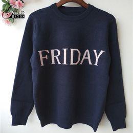 Wholesale European Runway - Women Fashion Week Women Sweater Chic Knitting Jumper Monday To Sunday Week Letter Sweater Women Casual Fashion Runway Pullover