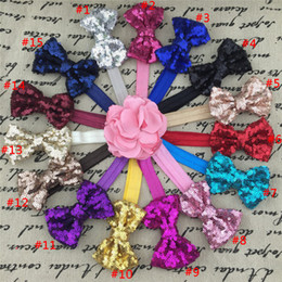 Wholesale Glitter Sequin Hair Bows - 3inch sequin hair bow,bow headband,sequin bow headband,flopny bow headband,glitter bow headbands,baby headwraps 15pcs lot
