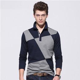 Wholesale Stitching Designs Shirts - New polo shirt men poloshirts spring shirts business slim fit polo t shirts wholesale long sleeve brand polo shirt design t-shirt stitching
