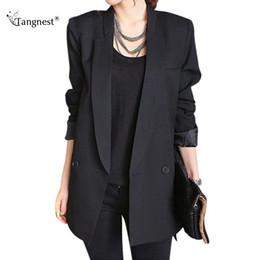 Wholesale Boyfriend Blazer Women - TANGNEST Spring Women Blazer 2017 New Oversized Casual Long Sleeve Blazer Oversized Boyfriend Blazers Suit Jackets WWX309