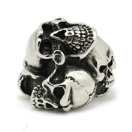 Wholesale Fashion Design Skull Head - 1pc Fashion Cool Design Skull Head Ring 316L Stainless Steel Cool Man Band Party New Jewelry Evil Skull Ring