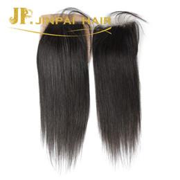 Wholesale Lasting Hair Color - Silk closure virgin straight human hair unprocessed long lasting Silk base 4*4 closure free shipping best quality hair