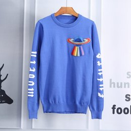 Wholesale Stocking Groups - Autumn And Winter Long Male Fashion Spacecraft Embroidered Picture Sweater In Stock Directly Group