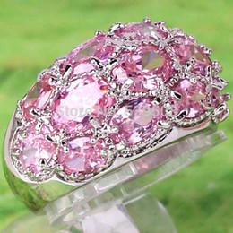 Wholesale Women Stylish Rings - Wholesale Christmas Gift Free Shipping Unisex Stylish Oval Cut Pink & White Sapphire 925 Silver Ring Size 7 8 9 10 Women Gift