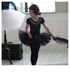 Wholesale Girls Ballet Cotton Dresses - Kids cotton shining Rhinestone dance dress children's day performance clothes ballet dance dresses girls Bows tulle tutu dress R0920
