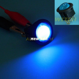 Wholesale Push Pin Light Led - 100x Free Shipping High Bright Blue 12V LED Light Car Boat Round Rocker ON OFF SPST Switch 3 Pins With LED Toggle Switch