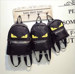 Wholesale Eye Backpack - new fashion Monster eyes backpacks womens yellow eyes backpack students bags Travelling bags Tablet computer package free shipping
