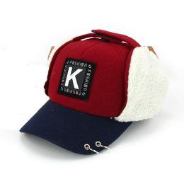 Wholesale Earflap Hat Balls - Unisex Winter Warm Bomber Hats Letter Design Children Earmuffs Ear Cap New Kids Earflap Protection hat MZ5333