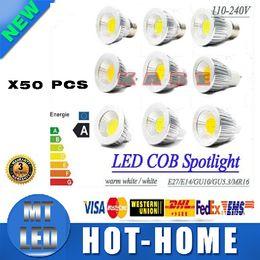 Wholesale 12v 7w E14 - X50 DHL ship led Dimmable E27 GU10 E14 GU5.3 MR16 5W 7W 9W COB led light bulb AC110-240V AC12V led lamp spotlight 3 years warranty+ce rohs