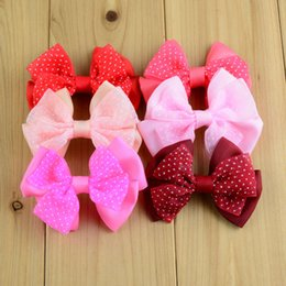Wholesale Diy Bowknot Chiffon - 30pcs lot Big Bowknot WITH Clip For Baby Girls 3.15 inch Chiffon Dots Layer Bow 21C Kids Korea Hair Flower DIY Accessories