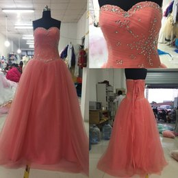Wholesale Evening Quinceanera - Sweetheart Quinceanera Dresses Real Tulle Satin A-line Crystal Beaded Corset Lace Up Back Ball Gown Evening Prom Dress Sweet 16 Dresses